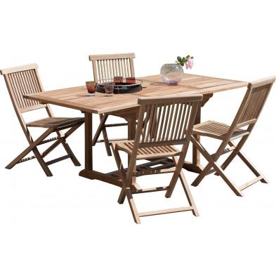 Ensemble table et chaise marron contemporain en bois massif teck L. 120/180 x P. 90 x H. 75 cm collection Sechelt