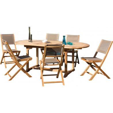 Ensemble table et chaise marron scandinave en bois massif teck L. 150/200 x P. 90 x H. 75 cm collection Sechelt