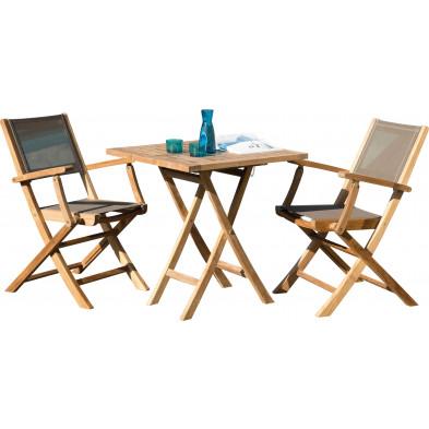 Ensemble table et chaise marron scandinave en bois massif teck L. 70 x P. 70 x H. 76 cmcollection Sechelt
