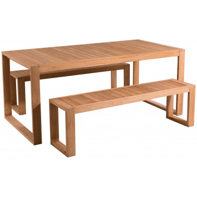 Ensemble table et chaise marron moderne en bois massif teck L. 180 x P. 90 x H. 77 cm collection Saenz