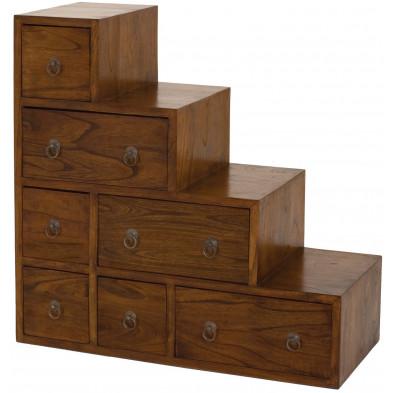 Rangement marron rustique en bois massif mindi L. 76 x P. 34 x H. 76 cm collection Deboorder