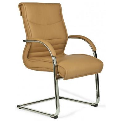 Chaise de bureau marron design en PVC L. 63 x H. 73 cm x P.59 cm collection Bucelas