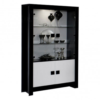 Vitrine noir design en panneaux de particules de haute qualité L. 112 x P. 44 x H. 190 cm collection Roxana