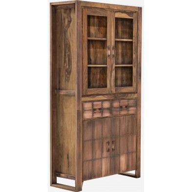 Vitrine avec 4 portes 2 tiroirs en bois de sheesham et métal coloris marron cuivré L. 100 x P. 40 x H. 190 cm collection Grijo