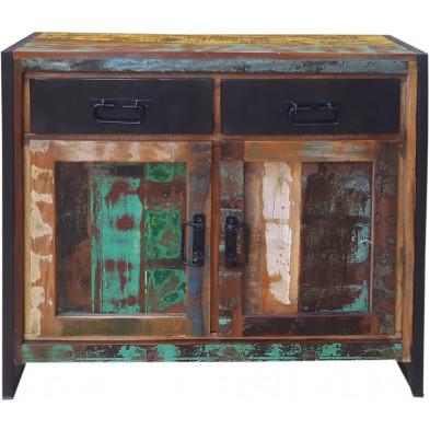 Commode rustique en bois recyclé et métal avec 2 portes et 2 tiroirs coloris marron et multicolore L. 90 x P. 35 x H. 85 cm collection Fleischman