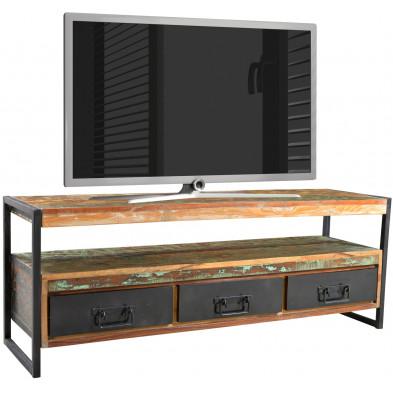 Meuble TV rustique en bois recyclé et métal avec 3 tiroirs et 1 compartiment coloris naturel et noir L. 155 x P. 40 x H. 55 cm collection