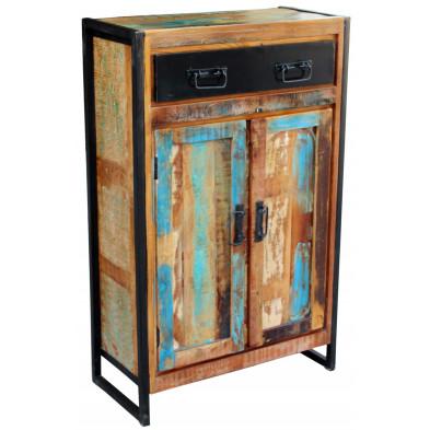 Buffet rustique en bois recyclé et métal avec 2 portes et 1 tiroir coloris marron et multicolore L. 76 x P. 35 x H. 110 cm collection Fleischman