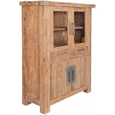 Vitrine rustique en bois de teck recyclé avec 4 portes et 2 tiroirs coloris naturel L. 115 x P. 48 x H. 150 cm collection Seewald