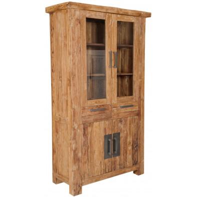 Vitrine  rustique en bois de teck recyclé avec 4 portes et 2 tiroirs coloris naturel L. 105 x P. 45 x H. 200 cm collection Seewald