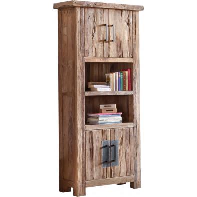 Bibliothèque rustique en bois de teck recyclé avec 4 portes et 2 compartiments coloris naturel   L. 90 x P. 40 x H. 200 cm collection Seewald