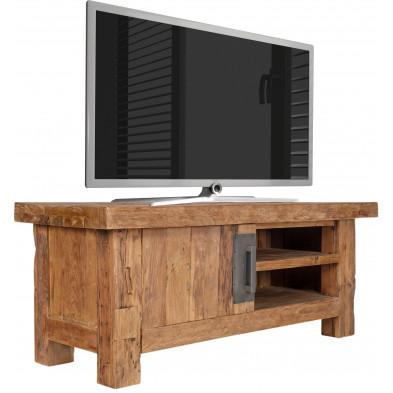 Meuble TV rustique en bois de teck recyclé avec 1 porte et 2 compartiments ouverts coloris naturel L. 130 x P. 45 x H. 50 cm collection Seewald