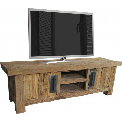 Meuble TV rustique en bois de teck recyclé avec 2 portes et 2 compartiments ouverts coloris naturel L. 160 x P. 45 x H. 50 cm collection Seewald