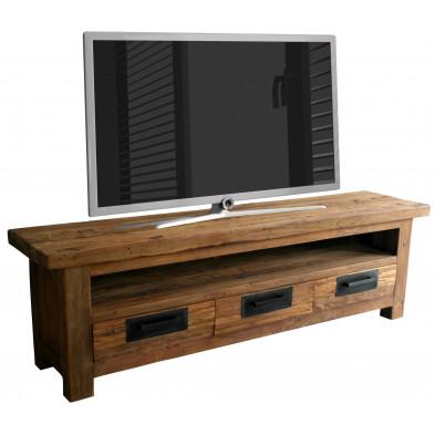 Meuble TV  rustique en bois de teck recyclé avec 3 tiroirs et 1 compartiment ouvert coloris bois naturel L. 200 x P. 50 x H. 45 cm collection Seewald