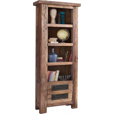 Bibliothèque rustique en bois de teck recyclé avec 4 compartiments ouverts et 2 tiroirs coloris naturel L. 70 x P. 45 x H. 195 cm Seewald collection