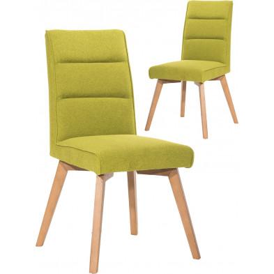 Lot de 2 chaises scandinaves en tissu vert et piétement bois L. 45 x P. 61 x H. 93.5 cm collection Thom