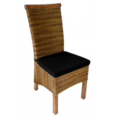 Chaise contemporain en rotin coloris naturel avec petit coussin inclus L. 49 x P. 58 x H. 107 cm collection Smithers