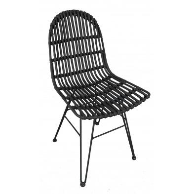 Chaise moderne  en rotin naturel et piétement métal coloris noir L. 50 x P. 60 x H. 84.5 cm collection Apfeldorf