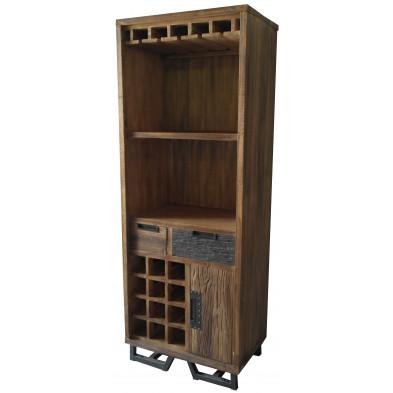 Meuble haut rustique  en bois d'albizia avec 9 emplacements bouteilles coloris marron L. 70 x P. 45 x H. 186 cm collection Sade