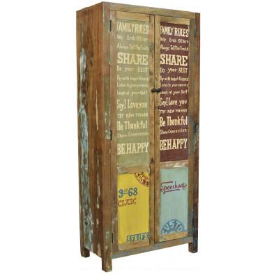 Meuble cabinet en bois recyclé  avec 2 portes coloris marron et multicolore L. 90 x P. 4 x H. 183 cm collection Fresh