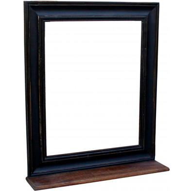 Miroir mural rectangulaire en bois de manguier et MDF avec petite tablette coloris marron et noir antique L. 68 x P. 10 x H. 79 cm collection Geralda