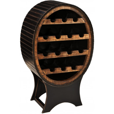 Meuble range-bouteilles en bois de manguier et MDF avec 14 compartiments coloris marron et noir antique L. 60 x P. 40 x H. 95 cm collection Geralda