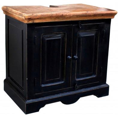 Meuble sous vasque en bois de manguier et MDF avec 2 portes coloris marron et noir antique L. 66 x P. 41 x H. 60 cm collection Geralda