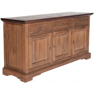 Buffet rustique en teck recyclé avec 3 portes et 3 tiroirs coloris naturel L. 148 x P. 44 x H. 83.5 cm collection Jemima