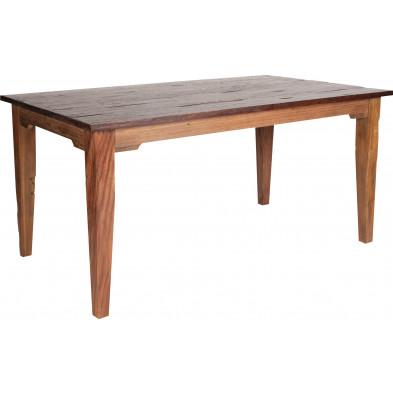 Table rustique rectangulaire en teck recyclé coloris naturel L. 160 x P. 90 x H. 77 cm collection Jemima