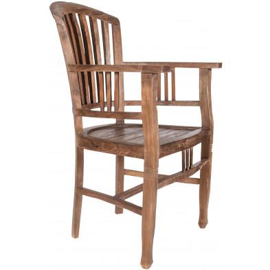 Chaise avec accoudoirs en teck recyclé coloris naturel L. 55 x P. 55 x H. 95 cm collection Jemima