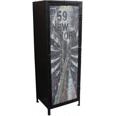 Meuble cabinet style industriel en métal avec 1 porte coloris noir et multicolore L. 50 x P. 40 x H. 144 cm collection Process