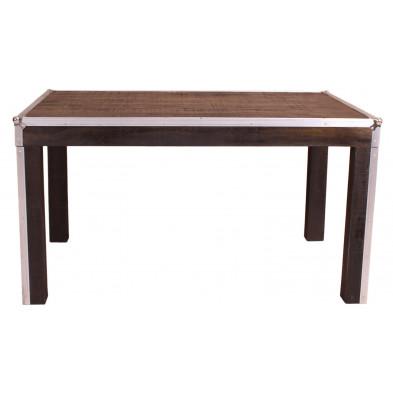 Table de salle à manger design coloris argenté marron et noir industriel en bois massif et acier L. 140 x P. 90 x H. 76 cm collection Pennadomo