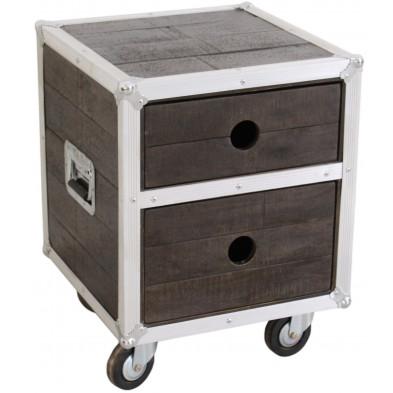 Table de chevet industrielle en bois de manguier et aluminium avec 2 tiroirs coloris marron et blanc L. 45 x P. 45 x H. 60 cm collection Pennadomo
