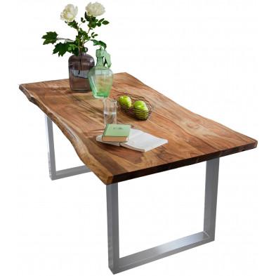 Table de salle à manger contemporaine en acacia coloris noyer et en métal argenté avec une épaisseur plateau de 26 mm L. 180 x P. 90 x H. 77 cm collection Gardner