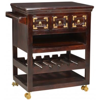 Desserte à roulettes avec à 3 étagères et 2 portes en bois recyclé coloris marron antique laqué L. 78 x P. 48 x H. 85 cm collection Nimble