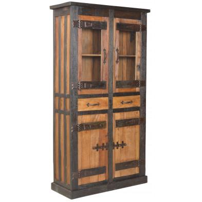 Vitrine rustique en bois recyclé avec 4 portes 2 tiroirs coloris marron  L. 100 x P. 40 x H. 190 cm collection Wesly