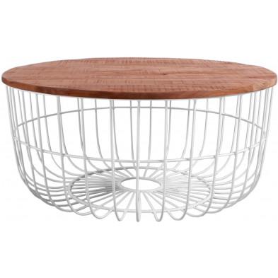Table basse moderne en métal blanc laqué et plateau en bois de manguier L. 90 x P. 90 x H. 47 cm collection Chatelineau
