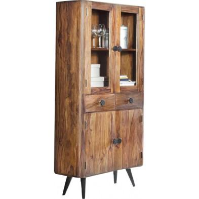Vitrine rustique avec 2 tiroirs et 4 portes en bois massif sheesham coloris naturel  L. 90 x P. 35 x H. 180 cm collection  Remain