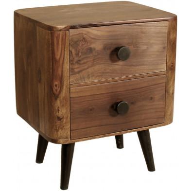 Chevet marron rustique avec 2 tiroirs en bois massif sheesham L. 50 x P. 40 x H. 60 cm collection Remain