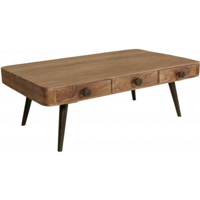 Table basse rustique marron avec 3 tiroirs en bois massif sheesham L. 120 x P. 70 x H. 40 cm collection Remain