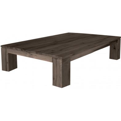 Table basse rustique marron en bois massif coloris fumé avec une épaisseur plateau de 30 mm L. 140 x P. 90 x H. 40 cm collection Attraction