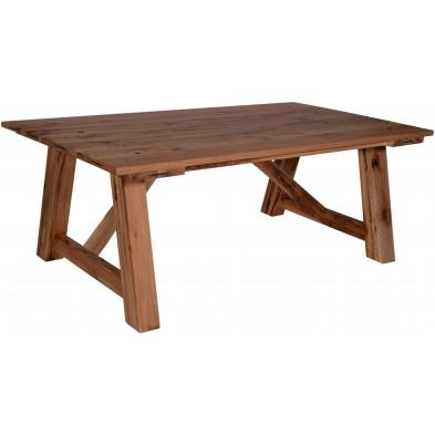 Table de salle à manger contemporaine en chêne massif coloris naturel avec une épaisseur plateau de 25 mm L. 180 x P. 100 x H. 78 cm collection Gjaltema