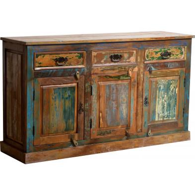 Buffet rustique en bois recyclé avec 3 portes et 3 tiroirs multicolore L. 140 x P. 40 x H. 80 cm collection Aduna