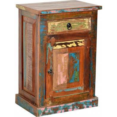 Meuble de rangement rustique en bois recyclé avec 1 porte et 1 tiroir multicolore L. 55 x P. 34 x H. 73 cm collection Aduna