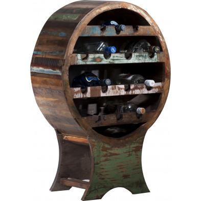 Meuble range-bouteille rustique en bois recyclé  avec 14 compartiments bouteilles multicolore L. 60 x P. 31 x H. 95 cm collection Aduna