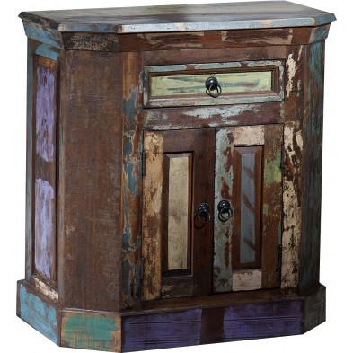 Meuble de rangement en bois recyclé avec 2 portes et 1 tiroir multicolore  L. 70 x P. 40 x H. 76 cm collection Aduna