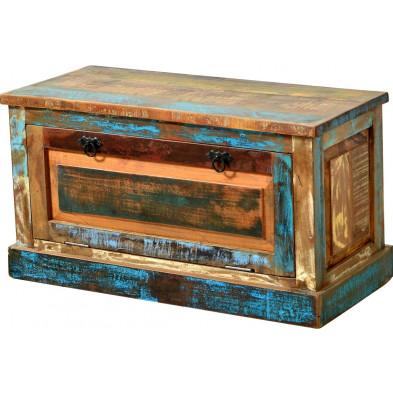 Meuble à chaussures en bois recyclé  avec 1 volet multicolore L. 85 x P. 40 x H. 45 cm collection Aduna