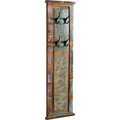 Panneau mural pour porte-manteaux en bois recyclé  avec 4 patères multicolore L. 35 x P. 3 x H. 110 cm collection Aduna