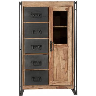 Vitrine design industriel  en bois de sheesham et métal coloris naturel et noir L. 90 x P. 45 x H. 147 cm collection Henrietta