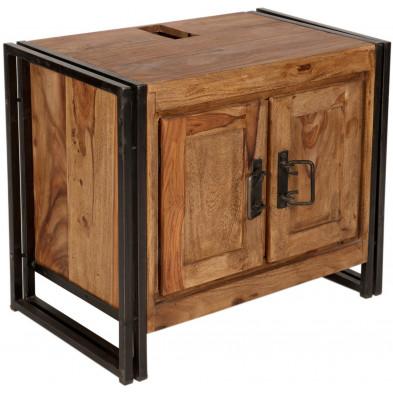 Meuble de rangement design industriel en bois de sheesham et métal coloris brun et noir L. 67 x P. 42 x H. 62 cm collection Henrietta