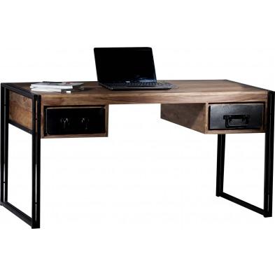 Bureau design industriel en bois de sheesham et métal coloris marron et noir L. 150 x P. 80 x H. 76 cm collection Henrietta